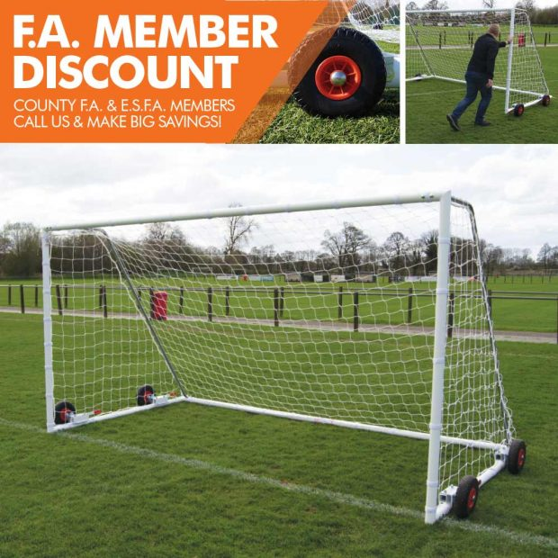 FOT-699 HEAVY DUTY EASYLIFT STEEL FREESTANDING 24X8 FOOTBALL GOAL PACKAGE