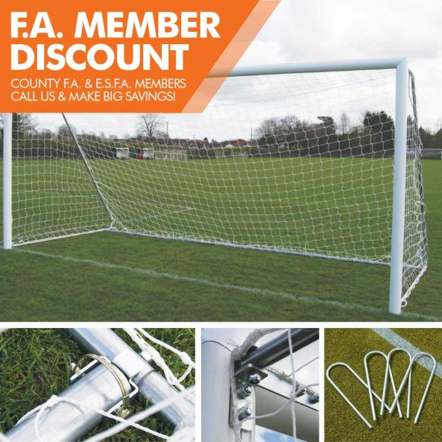 FOT-529 FOLDING 16X7 FOOTBALL GOAL PACKAGE WITH UPEGS