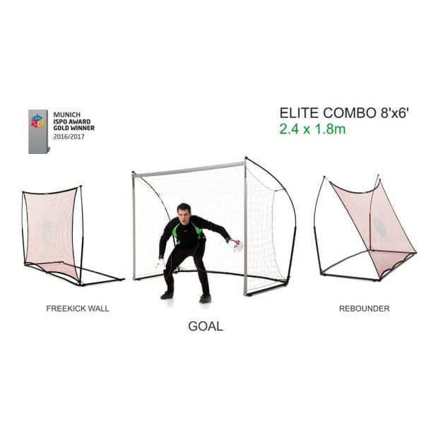 Quickplay Elite Combo 8'x6' Football Goal, Rebounder, Free kick Wall