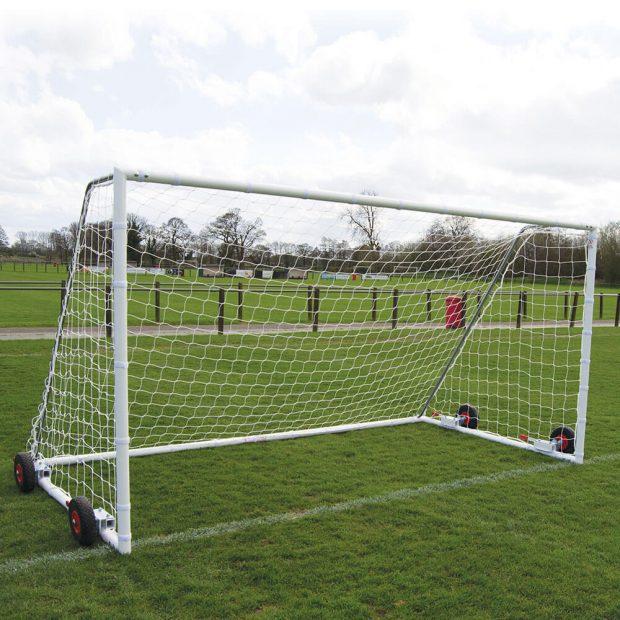 60mm Heavy Duty Easy Lift Freestanding 12 x 6 Football Goal Front