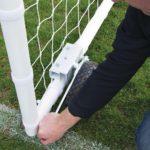 60mm Heavy Duty Easy Lift Freestanding 12 x 6 Football Goal lifting/lowing wheel