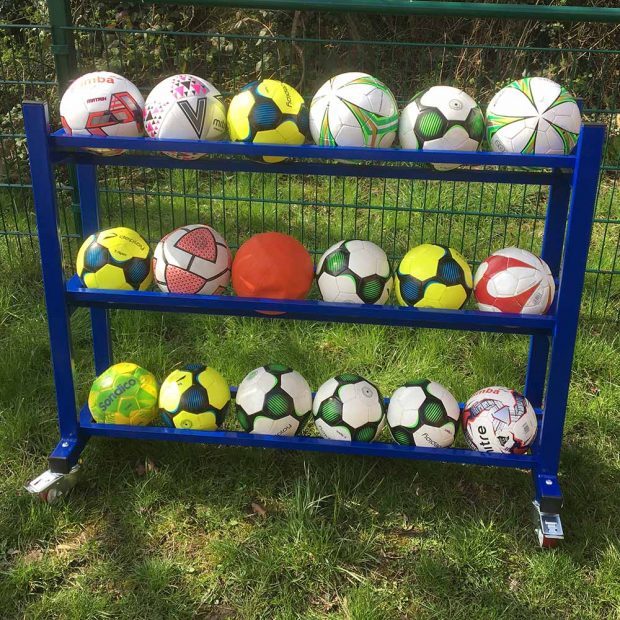 Football and accessory storage trolley