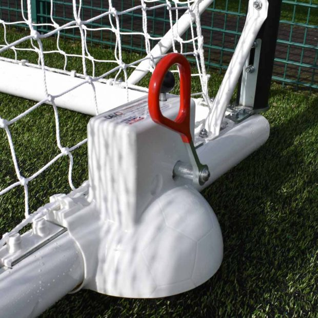 Devoshift Top Flight 24x8 full sized football goal wheel up
