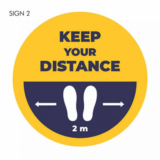 Keep your distance 2m Be smart stand apart social distancing sign