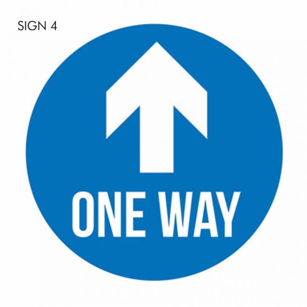 One way social distancing sign